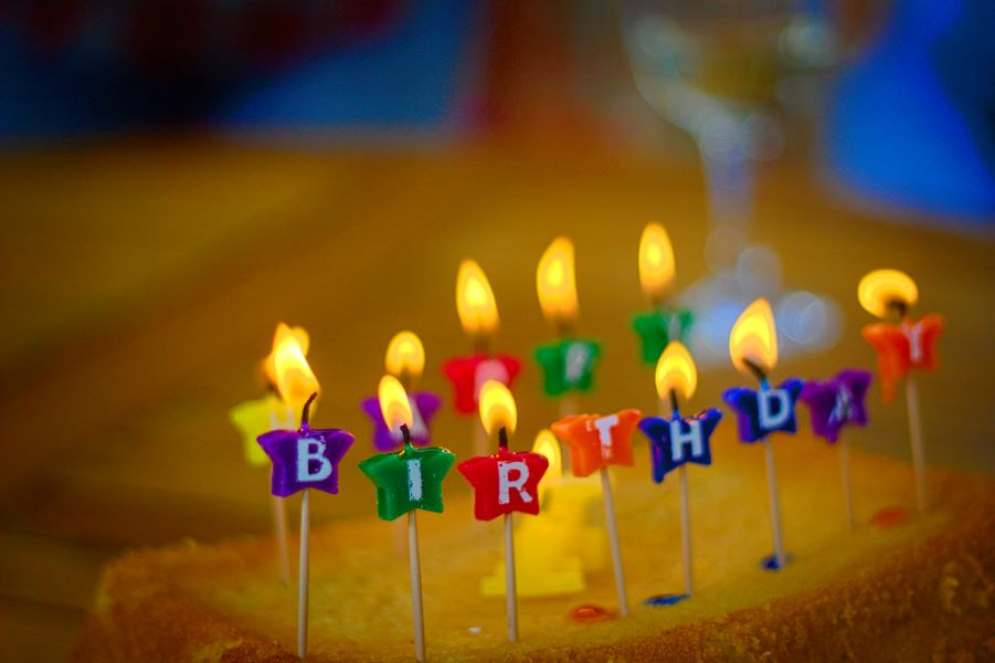 Happy Birthday Candles and Cake