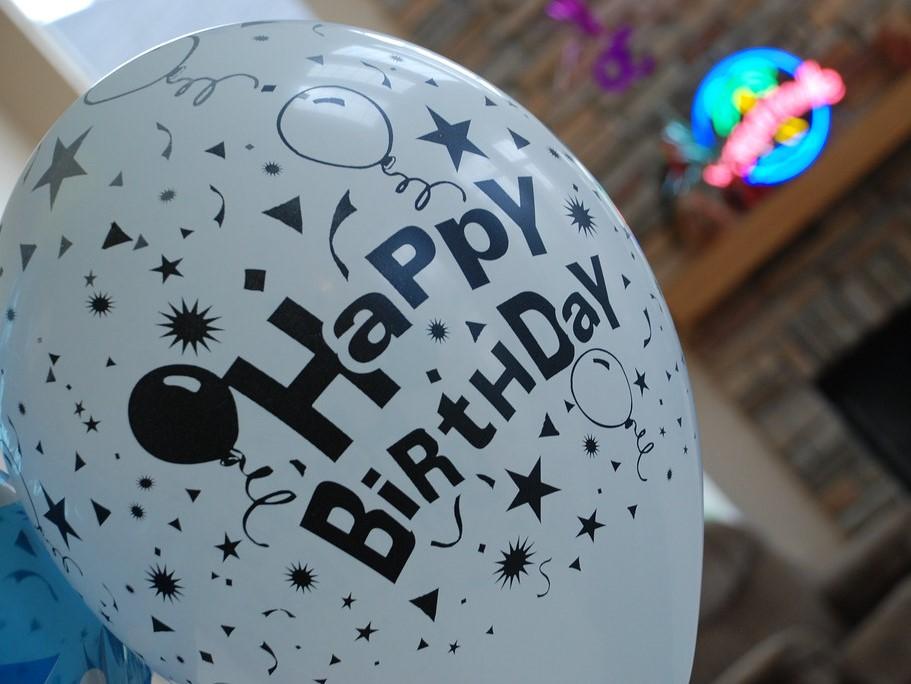 Happy Birthday Black and White Balloon