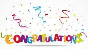Congratulations streamers and confetti